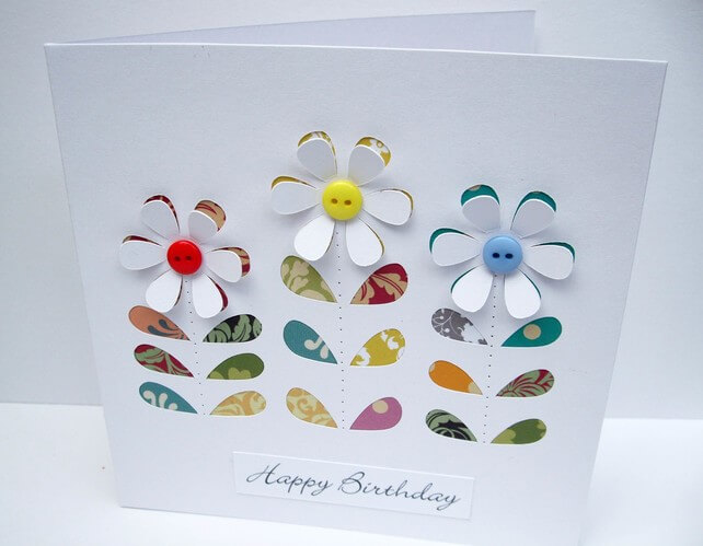 handmade birthday card ideas ; Folksy-Flower-Card