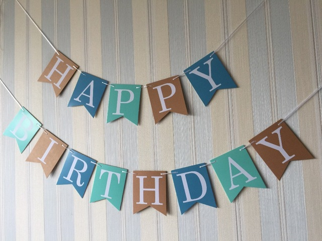 hanging birthday banner ; 12x15cm-Happy-Birthday-banner-white-letters-blue-brown-3-color-background-hanging-for-birthday-party-decoration