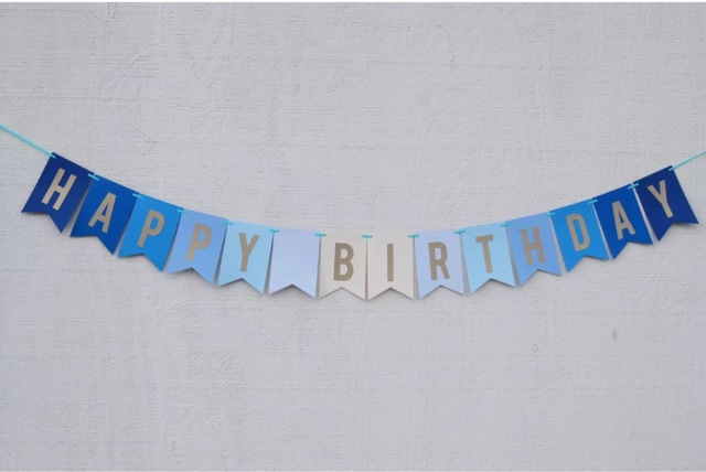 hanging birthday banner ; Handmade-Royal-Blue-Happy-Birthday-Banner-Hot-boy-Birthday-Bunting-1st-Baby-shower-Party-Decor-Nursery