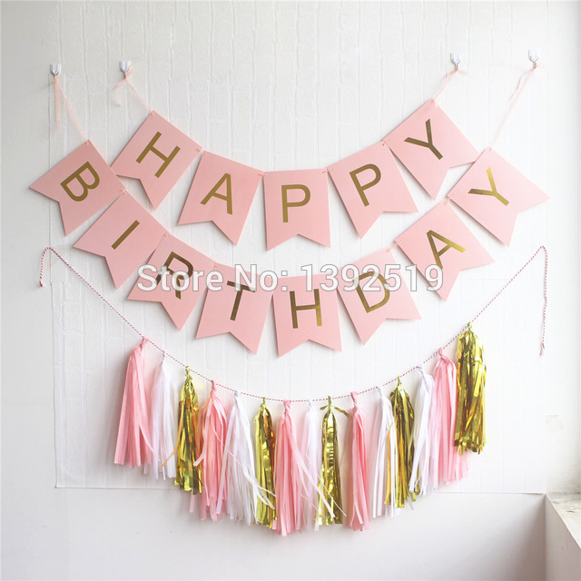 hanging birthday banner ; Pastel-Pink-Happy-Birthday-Banner-Garland-Hanging-Gold-Letters-Bunting-with-Tassel-Garland-Decoration-Party-Event