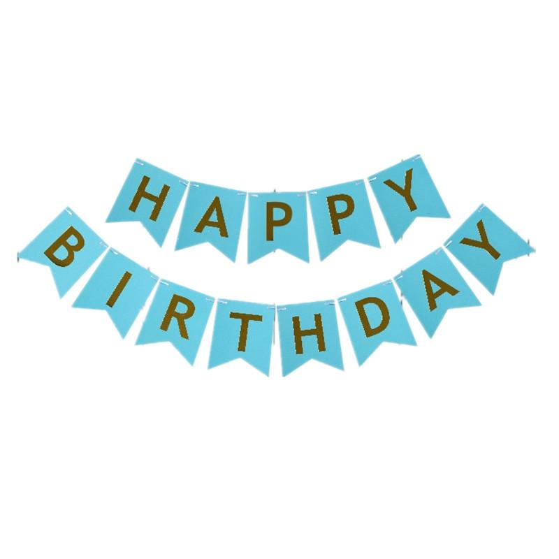 hanging birthday banner ; gold-letters-happy-birthday-paper-flags-bunting