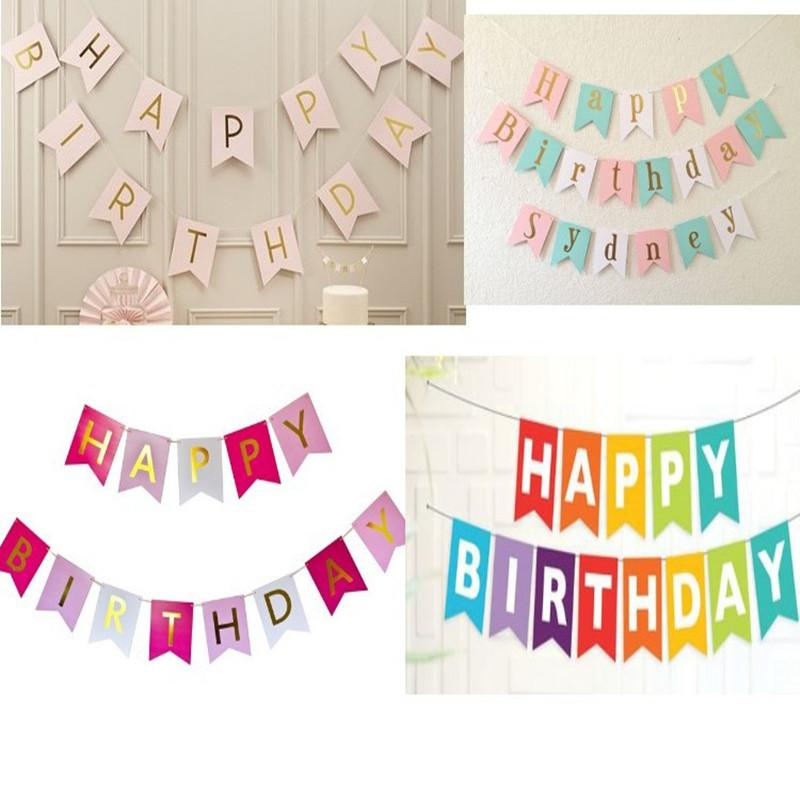 hanging birthday banner ; wholesale-pink-white-happy-birthday-banner