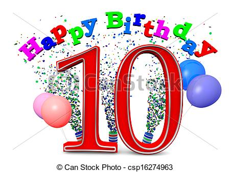happy 10th birthday ; happy-10th-birthday-stock-illustration_csp16274963