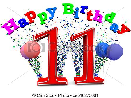 happy 11th birthday girl ; happy-11th-birthday-stock-illustration_csp16275061