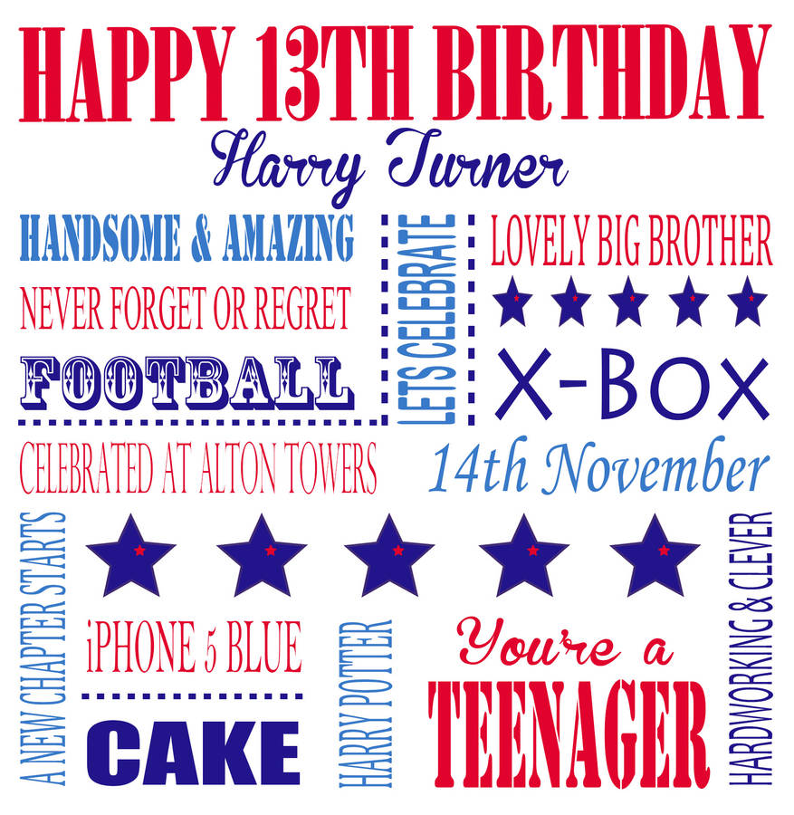happy 13th birthday to my son ; original_personalised-aged-13-birthday-card