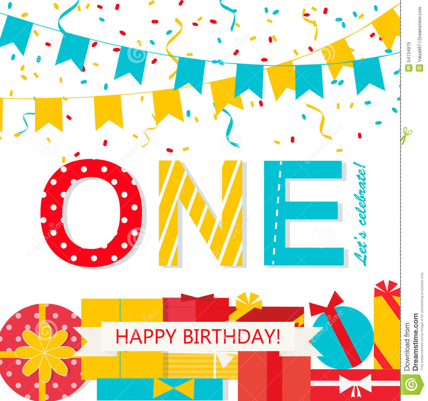 happy 1st birthday background ; happy-first-birthday-anniversary-card-flags-gifts-streamers-54134976