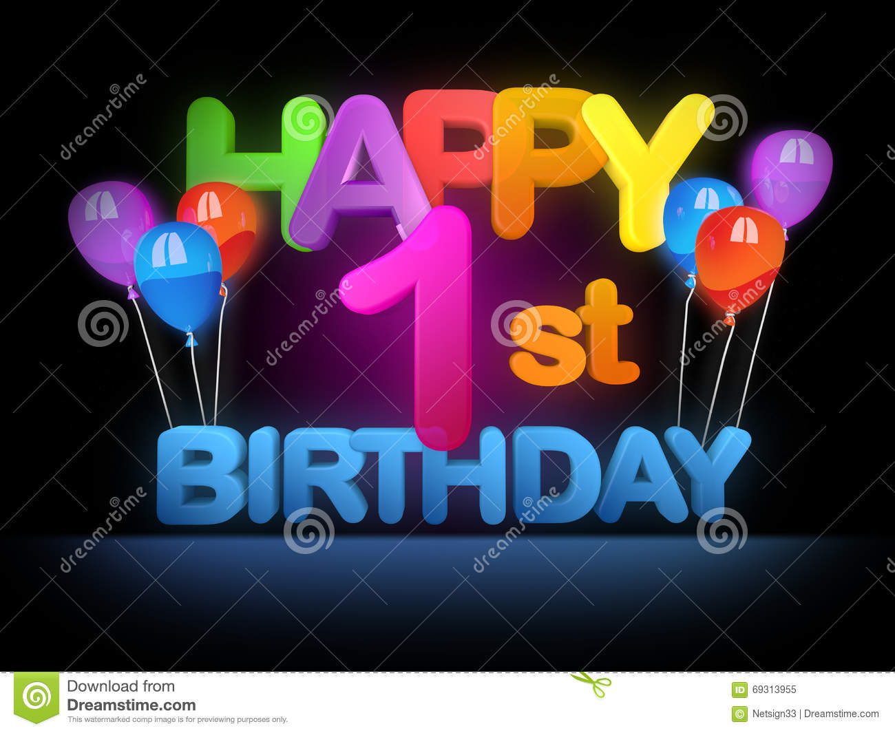 happy 1st birthday background ; happy-st-birthday-dark-title-big-letters-colourful-balloons-background-69313955