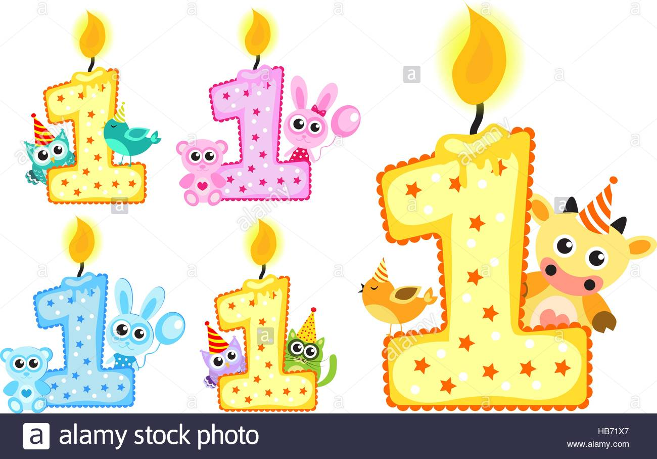 happy 1st birthday background ; set-happy-first-birthday-candle-and-animals-isolated-on-white-background-HB71X7