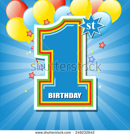 happy 1st birthday background ; stock-vector-happy-first-birthday-background-249232642