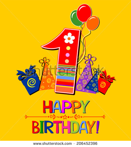 happy 1st birthday background ; stock-vector-happy-first-birthday-celebration-yellow-background-with-number-one-balloon-gift-boxes-and-place-206452396