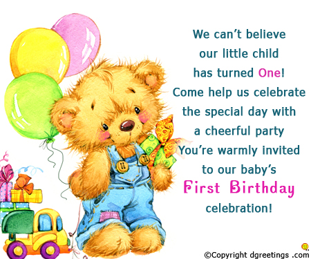 happy 1st birthday message for daughter ; 1st-birthday-invitation-cards