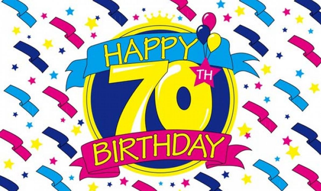 happy 70th birthday ; happy-70th-birthday-5-x-3-flag-3923-p