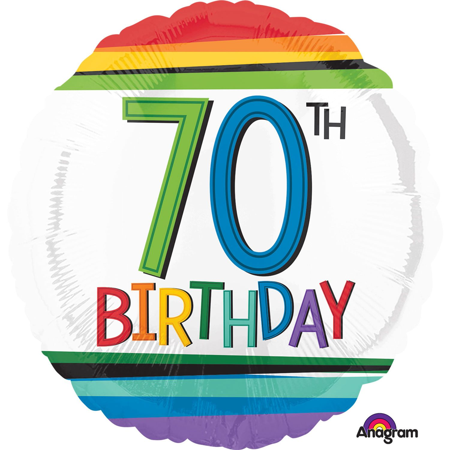 happy 70th birthday ; rainbow-happy-70th-birthday-18-foil-balloon-39331-p