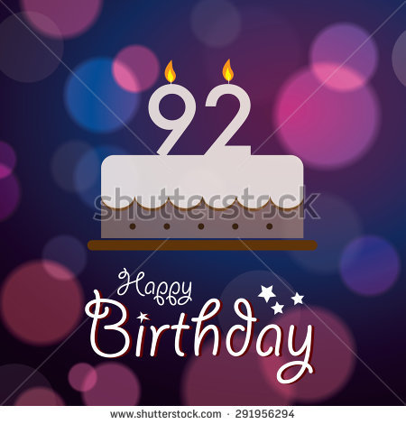 happy 92nd birthday ; stock-vector-happy-nd-birthday-bokeh-vector-background-with-cake-291956294