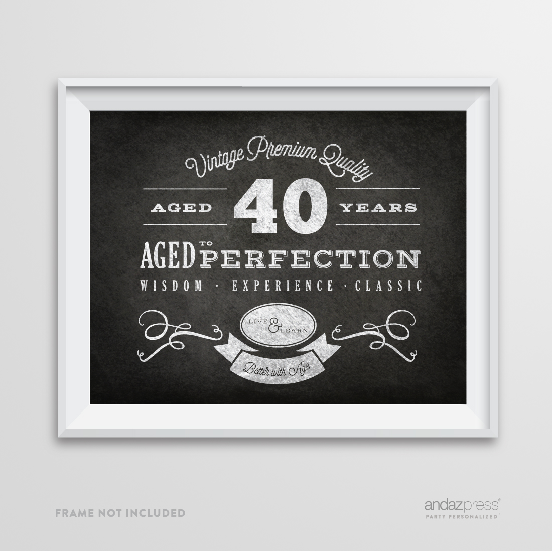 happy birthday 40 ; apc10631-andaz-press-milestone-birthday-wall-art-poster-signs-40th-birthday-gifts-and-party-decor-vintage-40-years-chalkboard-print-1-pack