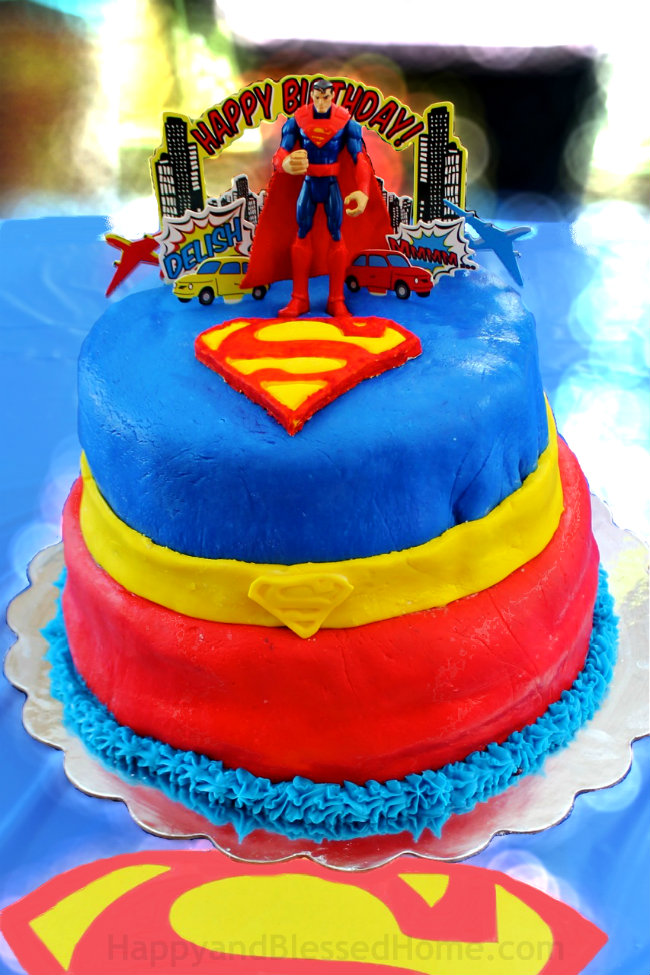 happy birthday 5 year old ; Superman-Birthday-Cake-for-five-year-old-birthday-party-with-Chocolate-Cake-and-Marshmallow-Fondant-from-HappyandBlessedHome