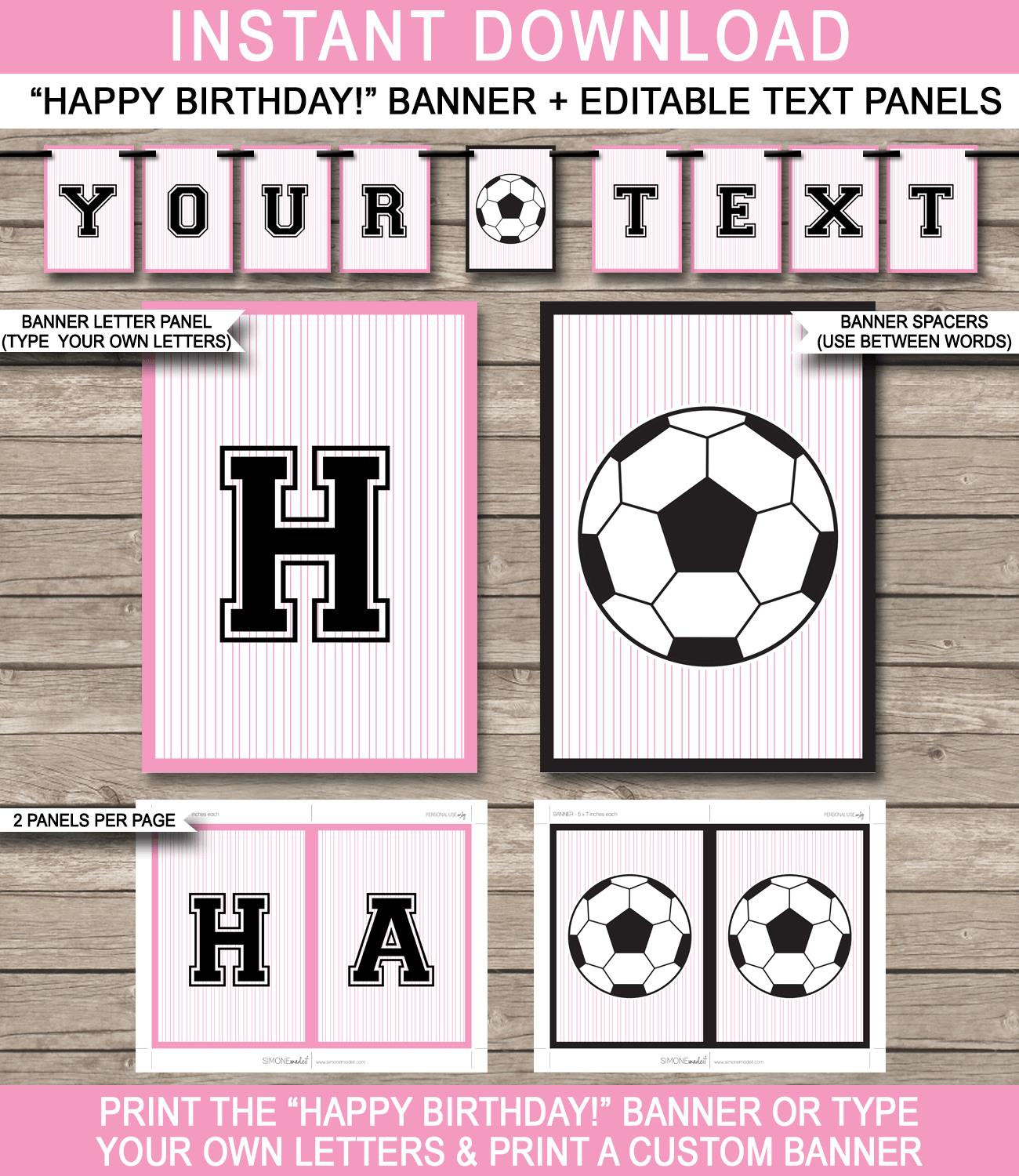 happy birthday banner for girl ; Girls-Soccer-Party-Pennant-Banner-Template-Bunting-pink