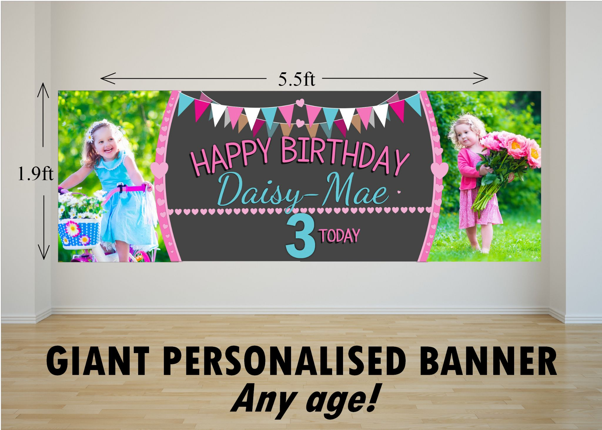 happy birthday banner for girl ; personalised-giant-large-girls-bunting-balloons-happy-birthday-photo-poster-banner-n54-any-age-16172-p