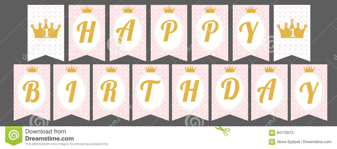happy birthday banner individual letters ; cute-pennant-banner-as-flags-letters-happy-birthday-princess-style-printable-template-baby-pattern-pink-gold-design-84172073