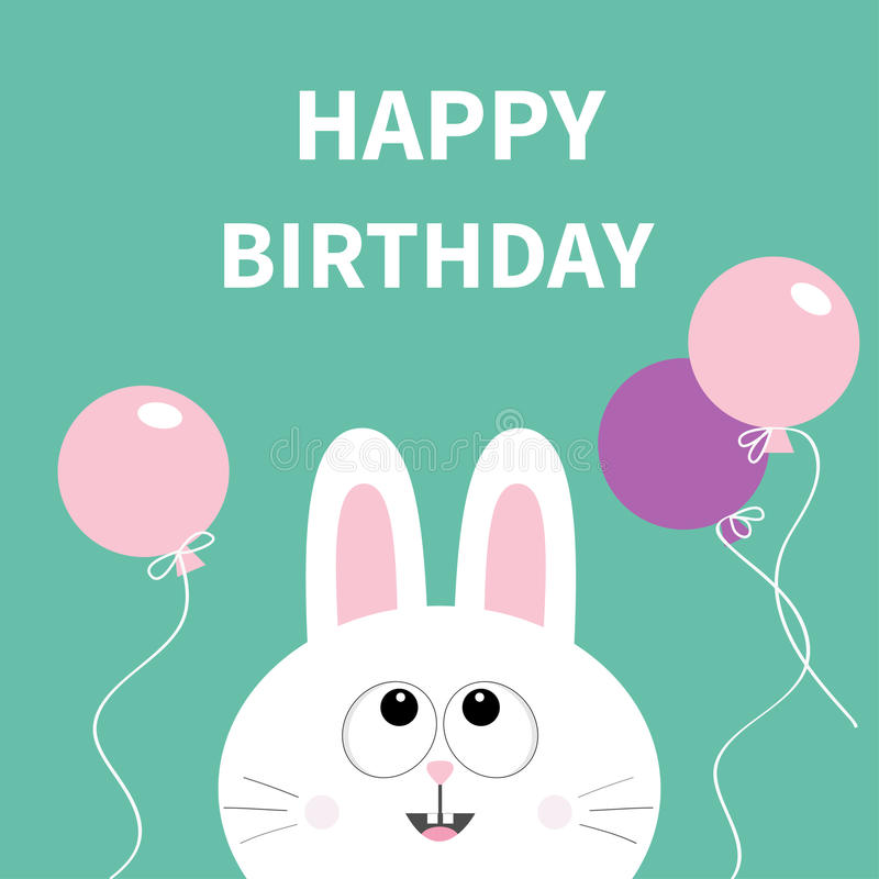 happy birthday bunny ; happy-birthday-white-bunny-rabbit-face-pet-collection-hare-looking-up-pink-violet-flying-balloon-greeting-card-flat-design-cute-96505151
