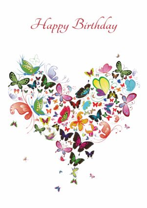 happy birthday butterfly card ; T4641