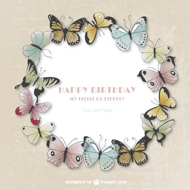 happy birthday butterfly card ; happy-birthday-card-with-butterflies_23-2147513998