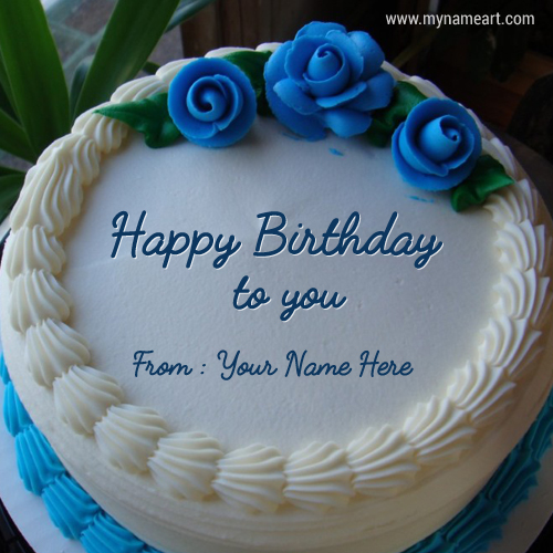 happy birthday cake with edit name ; happy-birthday-blue-rose-cake-with-name