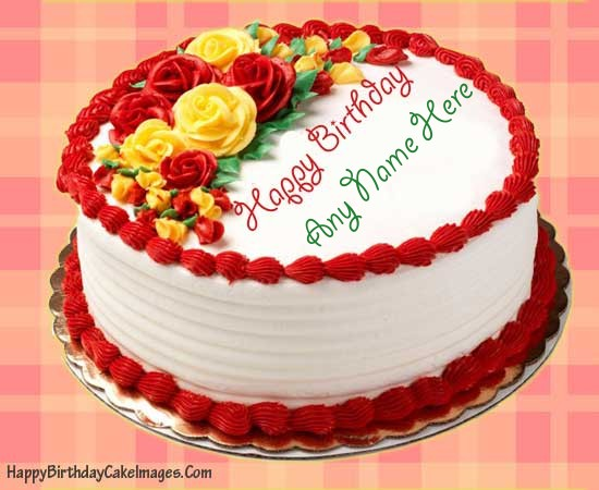 happy birthday cake with name wallpaper ; Rose-Birthday-Cake-Picture