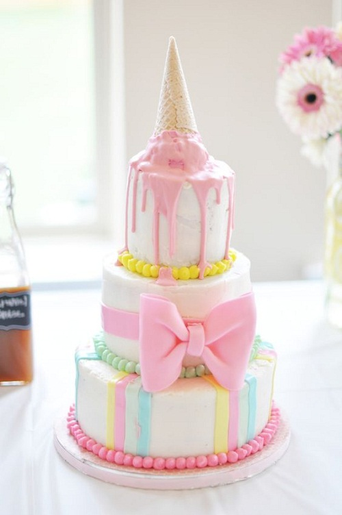 happy birthday cakes for her ; melted-icecream-with-ribbon-birthday-cakes-for-girls