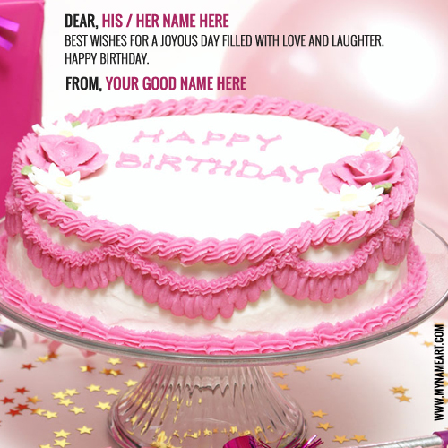 happy birthday cakes for her ; red-flower-birthday-cake-wishes-with-his-her-name
