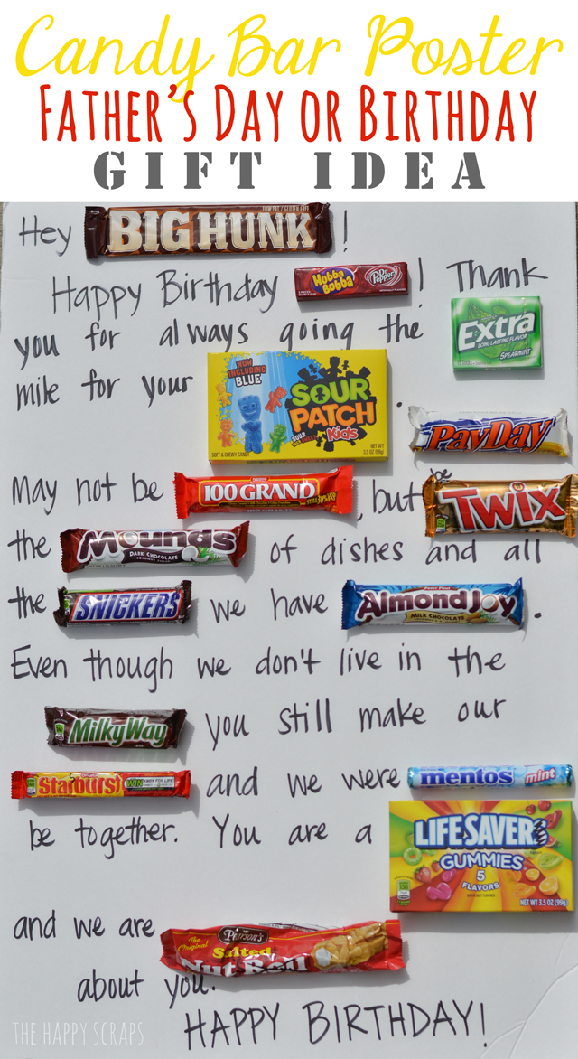happy birthday candy bar card ; candy-bar-poster