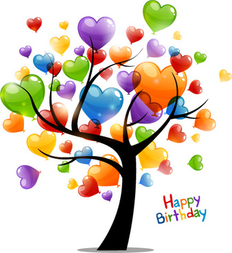 happy birthday card images for her ; colored_heart_tree_happy_birthday_card_vector_544109