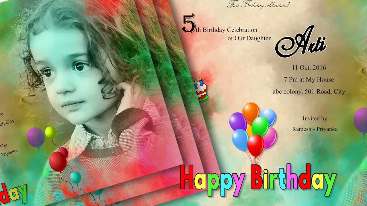happy birthday card photoshop ; maxresdefault