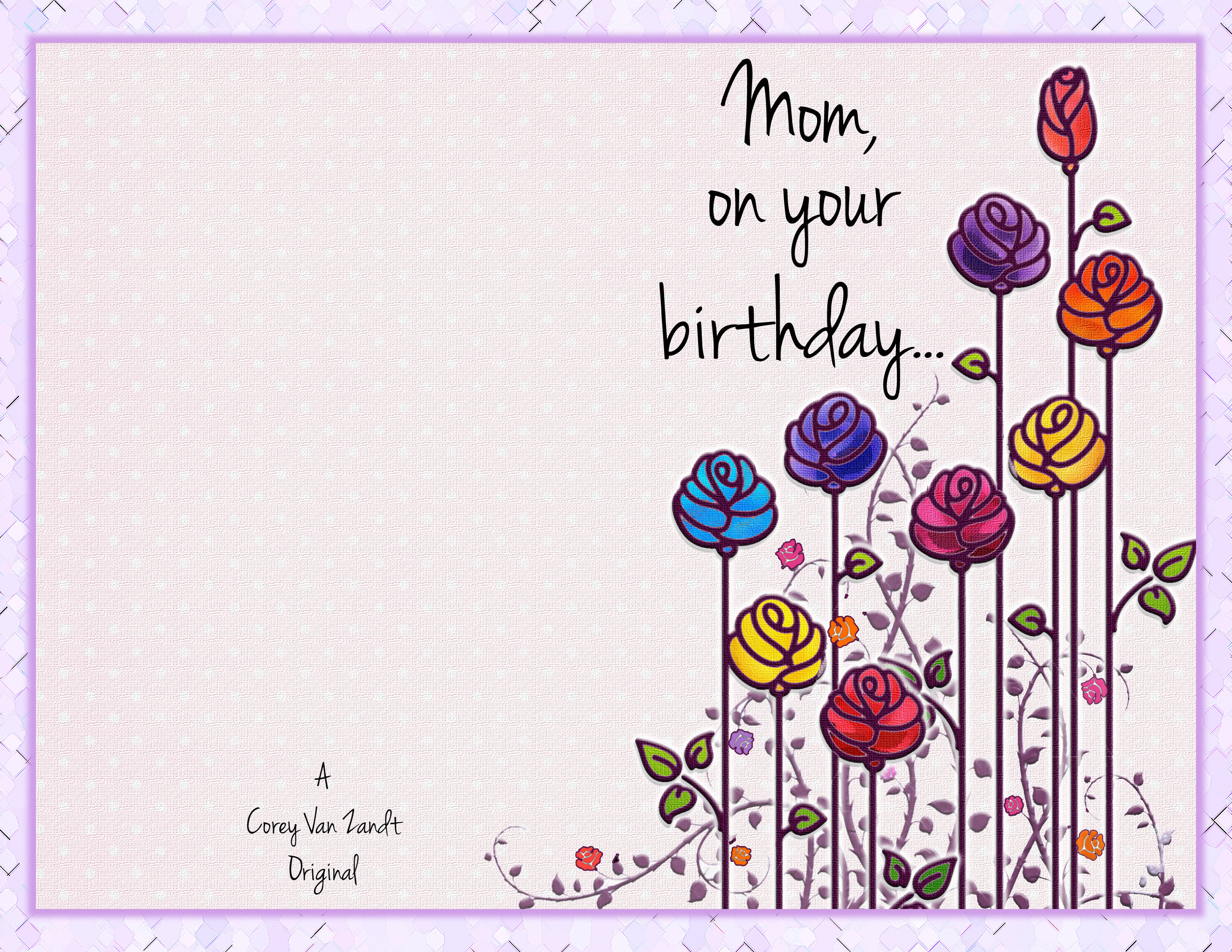 happy birthday card photoshop tutorial ; mom-card-front