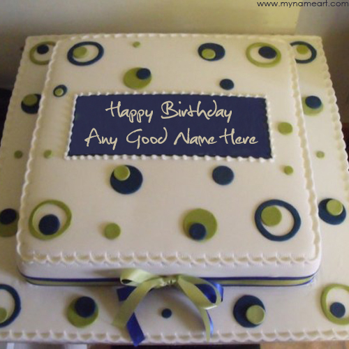 happy birthday card with name online ; white-square-party-birthday-cake-with-name