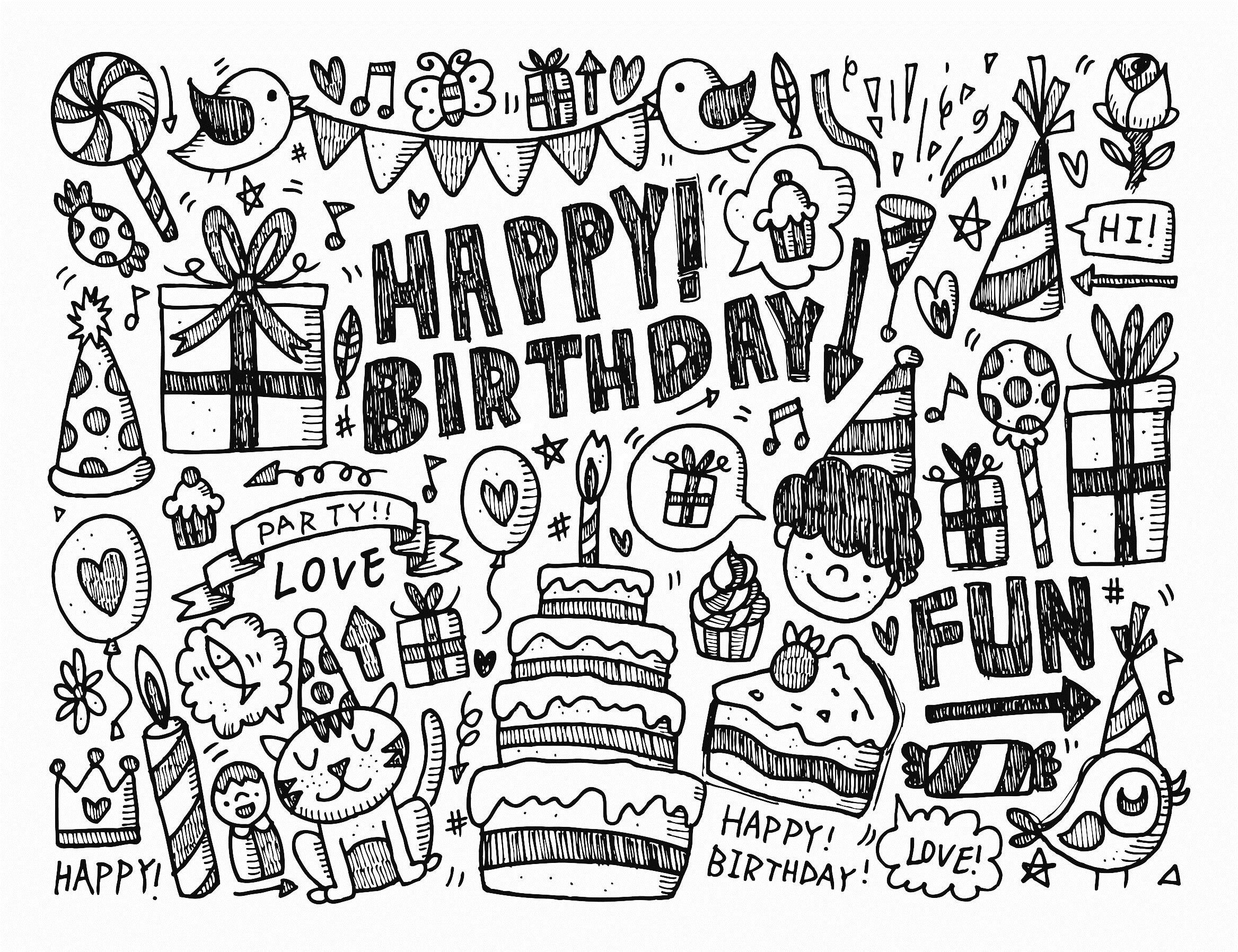 happy birthday coloring books ; happy-birthday-drawing-designs-14
