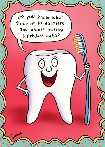 happy birthday dentist ; cd11455-tooth-holding-toothbrush-birthday-card