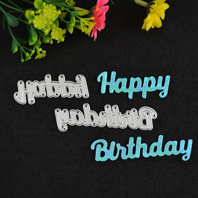 happy birthday dies for card making ; 2-words-Happy-Birthday-die-card-making-Die-cut-Metal-Cutting-Dies-Stencils-For-DIY-Scrapbooking