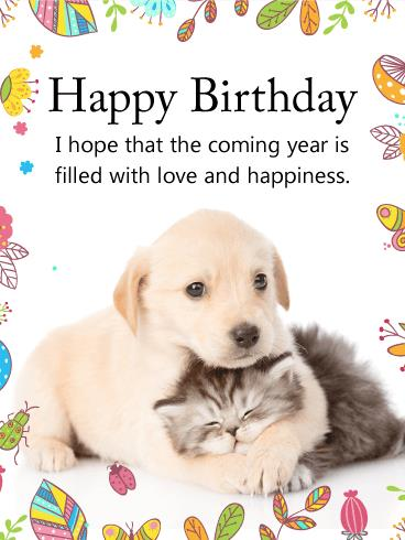 happy birthday dog images free ; birthday-cards-for-dogs-cuddling-dog-cat-happy-birthday-card-cakes-and-cards-pinterest-ideas