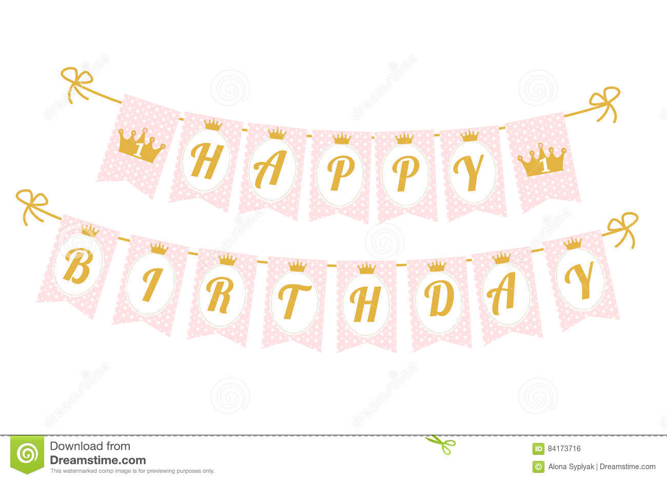 happy birthday flag banner ; cute-pennant-banner-as-flags-letters-happy-birthday-princess-style-printable-template-baby-pattern-pink-gold-design-84173716