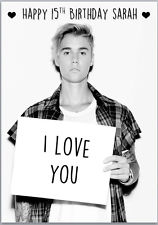 happy birthday from justin bieber card ; s-l225