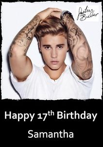 happy birthday from justin bieber card ; s-l300