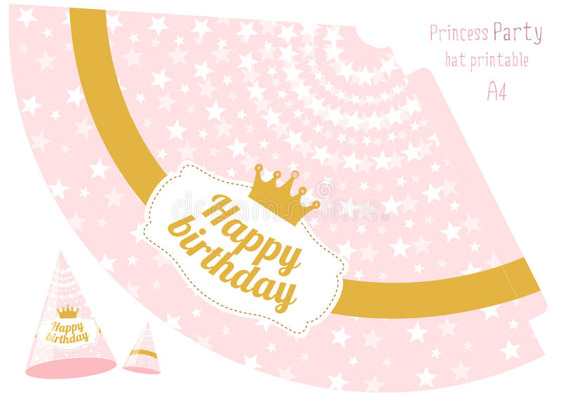 happy birthday hat printable ; party-hats-v-printable-pink-gold-princess-party-print-cut-happy-birthday-elements-vector-cones-template-to-head-holiday-84126971