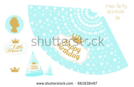 happy birthday hat printable ; stock-vector-party-hats-printable-blue-and-gold-prince-party-print-and-cut-happy-birthday-elements-vector-661838497