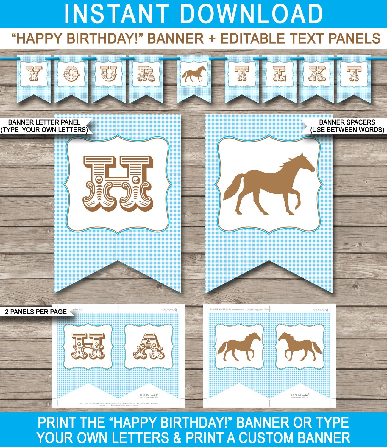 happy birthday horse banner ; Horse-Pony-Party-Banner-Template-Pony-Bunting-Editable-Text-blue