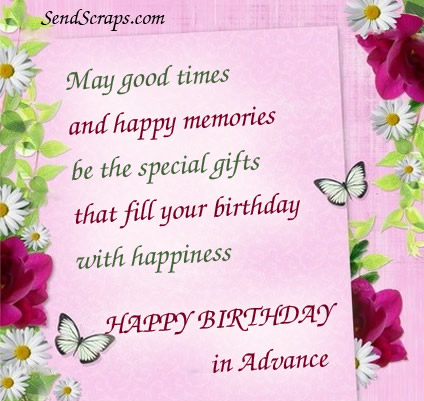 happy birthday in advance greeting cards ; 009