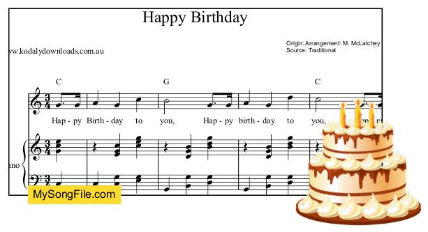 happy birthday in piano chords ; 259
