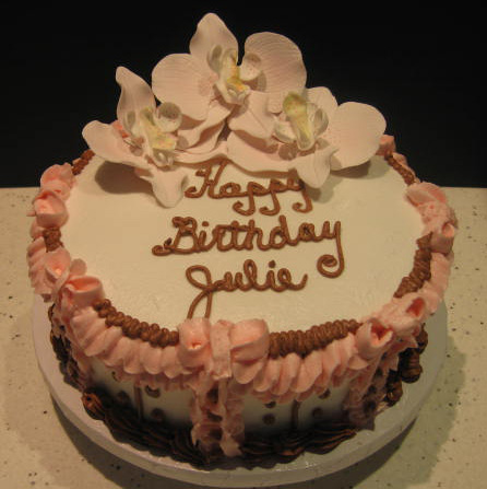 happy birthday julie cake ; happybirthdayjuliewithorchids