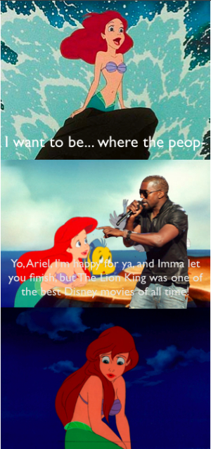 happy birthday mermaid meme ; kanye-ariel