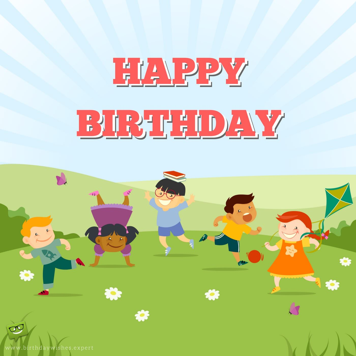 happy birthday message for kids ; Happy-Birthday-wish-for-preschool-children-on-image-with-happy-kids-playing